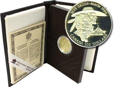 Канада. Елизавета II. 1989. 100 долларов. 1639-1989. 350 лет со дня основания Сен-Мари. 0.583 Золото 0.470 Oz., AGW.,  13.338 g., PROOF PF60.