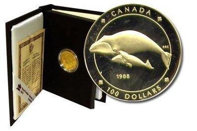 Канада. Елизавета II. 1988. 100 долларов. Гренландский кит. 0.583 Золото 0.470 Oz., AGW.,  13.338 g., PROOF PF60.