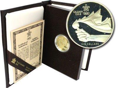 Канада. Елизавета II. 1987. 100 долларов. 1988 - XV Зимние Олимпийские Игры в Калгари. 0.583 Золото 0.470 Oz., AGW.,  13.338 g., PROOF PF60.