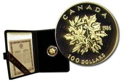 Канада. Елизавета II. 1986. 100 долларов. Международный год мира. 0.91667 Золото 0.6 Oz., AGW.,  16.965 g., PROOF PF60.