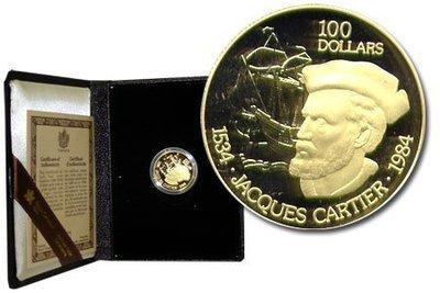 Канада. Елизавета II. 1984. 100 долларов. 1534-1984. 450 лет Экспедиции Жака Кортье. 0.91667 Золото 0.6 Oz., AGW.,  16.965 g., PROOF PF60.