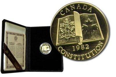Канада. Елизавета II. 1982. 100 долларов. Конституция Канады. 0.91667 Золото 0.6 Oz., AGW., 16.965 g., PROOF PF60.