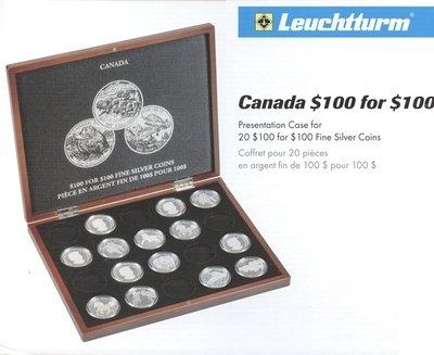Деревянный футляр для 20 монет. Канада. Елизавета II. 100 долларов. Серия: $100 за $100. Диаметр монет 40.00 mm.