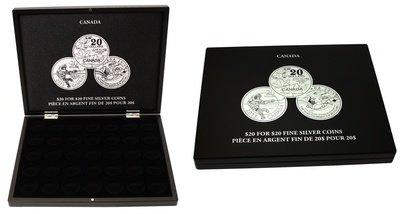 Футляр для 35 монет Канада серия: $20 за $20. Диаметр для хранения в капсулах 31.0 мм * 5.0 им. Чёрный велюр.