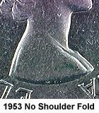 Канада. Елизавета II. 1953. 25 центов. Карибу. Тип: 1953. 0.800 Серебро 0.149 Oz. ASW., 5.830 g., KM#52 - Нет складки на плече. AU