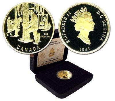 Канада. Елизавета II. 1995. 200 долларов. Сбор кленового сиропа. 0.916 Золото 0.6 Oz., AGW 17.13 g., KM# PROOF