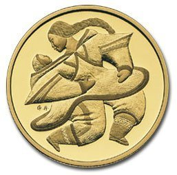 Канада. Елизавета II. 2000. 200 долларов. Серия: Индейцы. #04. Мать и дитя. 0.916 Золото 0.6 Oz., AGW 17.13 g., KM# PROOF