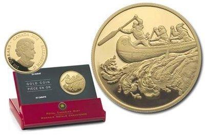 Канада. Елизавета II. 2005. 200 долларов. Серия: История торговли Канады. #01. Торговля мехом. 0.916 Золото 0.6 Oz., AGW 17.13 g., KM# PROOF