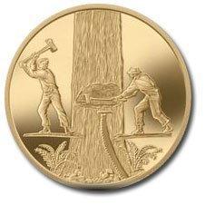 Канада. Елизавета II. 2006. 200 долларов. Серия: История торговли Канады. #02. Торговля деревом. 0.916 Золото 0.6 Oz., AGW 17.13 g., KM# PROOF