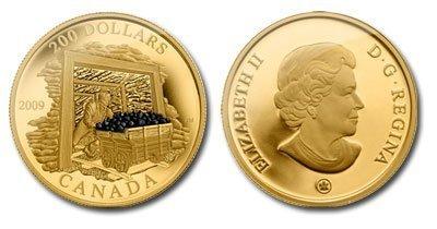 Канада. Елизавета II. 2009. 200 долларов. Серия: История торговли Канады. #05. Торговля углём. 0.916 Золото 0.6 Oz., AGW 17.13 g., KM# PROOF