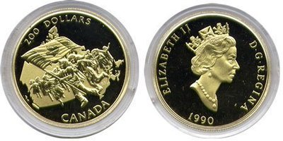 Канада. Елизавета II. 1990. 200 долларов. Серия: Флаг Канады. 1965-1990. 25 лет флагу Канады. 0.916 Золото 0.6 Oz., AGW 17.13 g., KM# PROOF