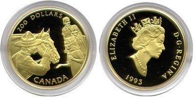 Канада. Елизавета II. 1993. 200 долларов. Королевская Канадская Конная Полиция - Национальная Гордость. 0.916 Золото 0.6 Oz., AGW 17.13 g., KM# PROOF