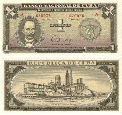 Куба. Бумажные деньги. 1975. 1 песо. 15 лет Национальному Банку Кубы. Тип: Памятная. Серия/№: . Подпись: . Catalog #. PRESS (UNC)