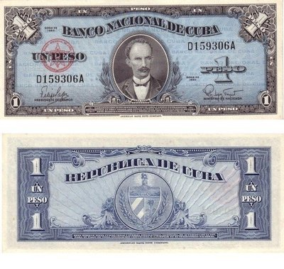 Куба. Бумажные деньги. 1960. 1 песо. Хосе Марти. Тип: 1960. Серия/№: . Подпись: . Catalog #. PRESS (UNC)