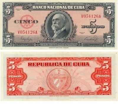 Куба. Бумажные деньги. 1949. 5 песо. Максимо Гомез. Тип: 1949. Серия/№: . Подпись: . Catalog #. PRESS (UNC)