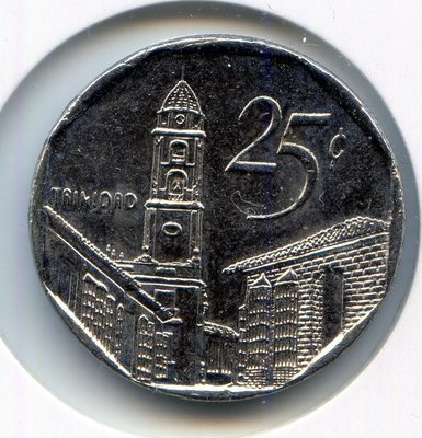 Cuba. 2000. 25 centavos CUC. Trinidad. Type: 1994. Nickel plated Steel. 6.300 g., KM#577.2 Note: Coin alignment. UNC