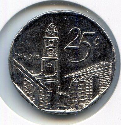 Cuba. 2001. 25 centavos CUC. Trinidad. Type: 1994. Nickel plated Steel. 6.300 g., KM#577.2 Note: Coin alignment. UNC