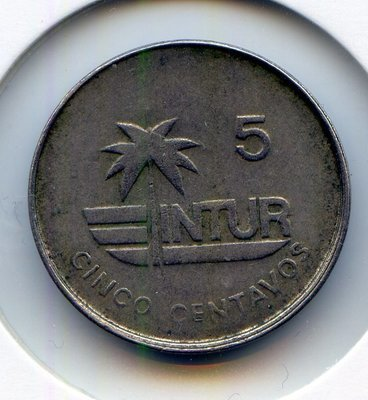 Cuba. 1981. 5 centavos. Mollusk. Type: INTUR. Cu-Ni. 3.50 g., BU KM#412.1 VF. Note: Palm tree within logo, medium 5.