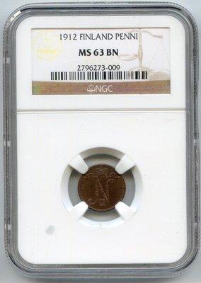 Российская Империя. Финляндия. Николай II. 1912. 1 пенни. Тип: 1895. Медь. 1.28 g. KM#13. MS 63 BN NGC