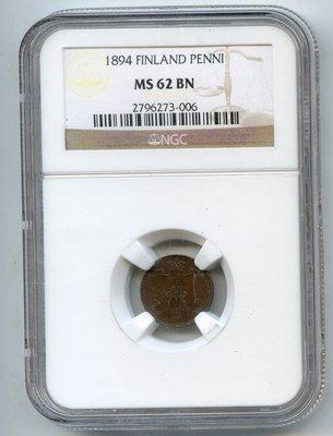 Российская Империя. Финляндия. Александр III. 1894. 1 пенни. Тип: 1881. Медь. 1.28 g.KM# . MS62 BN NGC
