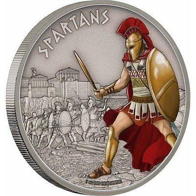 Ниуэ. Елизавета II. 2016. 2 доллара. Серия: Войны Истории. Спартанцы. 0.9999 Серебро 1.0 Oz., ASW., 31.10 g. BU / Coloured