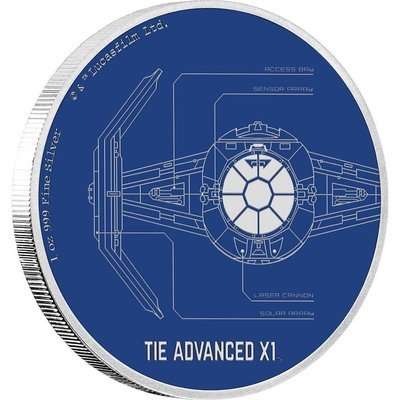 Остров Ниуэ. Елизавета II. 2017. 2 доллара. Серия: Звёздные войны™.  Космические корабли. TIE Advanced X1. 0.9999 Серебро 1.0 Oz., ASW., 31.10 g. PROOF / Colored