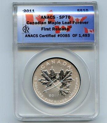 Канада. Елизавета II. 2011. 10 долларов. Канадские кленовые листья навсегда. 0.9999 Серебро 0.5 Oz., ASW., 15.55 g., BU. First Release SP70 ANACS
