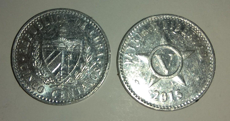 Cuba. 2015. 5 centavos CUP. Star. Type: 1915. Aluminium. 1.500 g., KM#34. XF