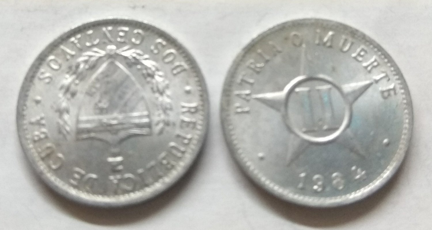 Cuba. 1984. 2 centavos CUP. Star. Type: 1915. Al-Mg 1.000 g., KM#104.2 - Big lettered legends. AU