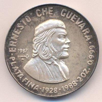 Cuba. 1987. 20 pesos. Series: Heroes of Revolution. -#5. 60th Anniversary - Brith of Ernesto Che Guevara. 0.999 Silver. 1.9849 Oz ASW. 62.20g. KM#170. PROOF. Mintage: 500