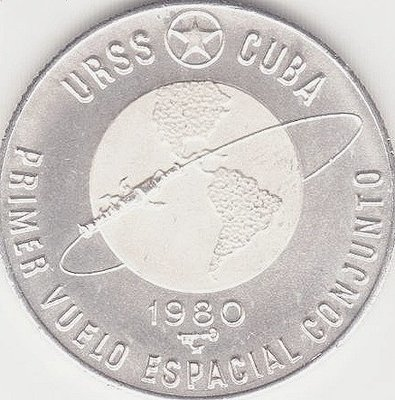 Cuba. 1980. 5 pesos. Series: First Joint Space Flight. -#1. First Soviet - Cuban Space Flight. Globe. 0.999 Silver. 0.3829 Oz ASW. 12.0g. KM#47. PROOF