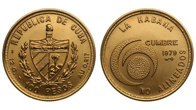Cuba. 1979. 100 pesos. Series: 6th Summint of Nonaligned Countres. -#1. Havana '79. 0.917 Gold. 0.3515 Oz AGW 16.0g., BU. KM#45. UNC