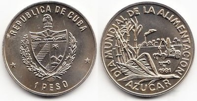 Cuba. 1981. 1 peso. Series: World Food Day (FAO). #1. Sugar Production. Cu-Ni. KM#59. BU. UNC