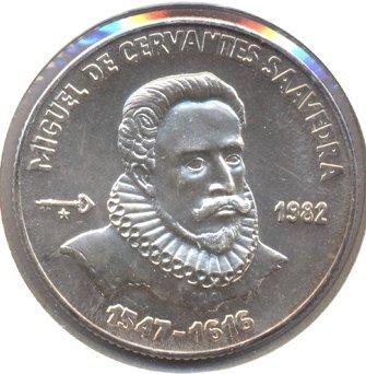 Cuba. 1982. 5 pesos. Series: Don Quijote de la Mancha - #1. Cervantes. 0.999 Silver. 0.3229 Oz ASW. 12.0g. BU. KM#99. UNC