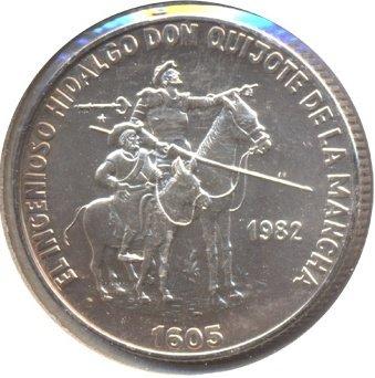 Cuba. 1982. 5 pesos. Series: Don Quijote de la Mancha - #3. Hidalgo Don Quijote and Sancho Panza. 0.999 Silver. 0.3229 Oz ASW. 12.0g. BU. KM#101. UNC