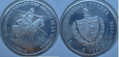 Cuba. 1982. 5 pesos. Series: Don Quijote de la Mancha - #3. Hidalgo Don Quijote and Sancho Panza. KM#101. Proof. 0.999 Silver. 0.3229 Oz ASW. 12.0g. KM#101 PROOF. Mintage: 2,000