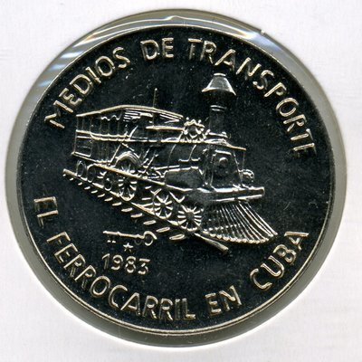Cuba. 1983. 1 peso. Series: Means of Transport. - #1. The Railroad in Cuba. Cu-Ni. 11.30 g. BU. KM#106. UNC