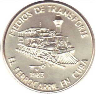 Cuba. 1983. 5 pesos. Series: Means of Transport - #1. The Railroad in Cuba. 0.999 Silver. 0.6458 Oz ASW. 24.0g. BU. Aledon #AGEE 123. UNC. Mintage: 100. VERY RARE