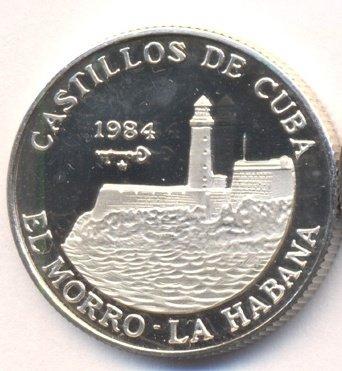 Cuba. 1984. 5 pesos. Series: Castle of Cuba - # 1. El Morro. La Habana. 0.999 Silver. 0.3229 Oz ASW. 12.0g. KM#141. PROOF. Mintage: 1,000