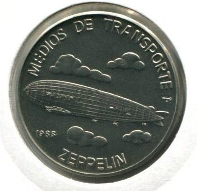 Cuba. 1988. 1 peso. Series: Means of Transport. #4. Airsihp Zeppelin. Cu-Ni. 11.30 g. BU. KM#269. UNC
