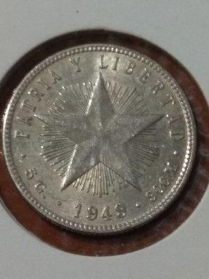 Cuba. 1949. 20 centavos. Star. Type: 1915. 0.900 Silver. 0.1473 Oz ASW. 5.0 g. KM#13.2. AU