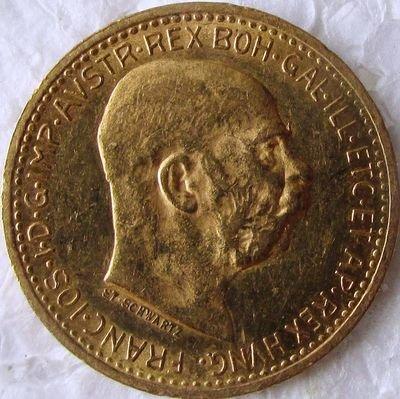 Империя Австро-Венгрия. Франц Иосиф I. 1910. 10 крон. 0.917 Золото. 0.10025 Oz., AGW 3.4 g., KM#2816. AU.