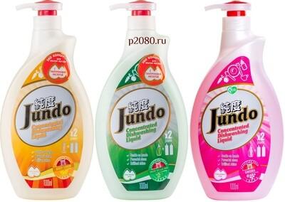ЭКО Гель для мытья посуды и детских принадлежностей Jundo Лимон, Зеленый чай или Сакура 1л