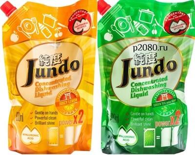 ЭКО Гель для мытья посуды и детских принадлежностей сменный блок Jundo Лимон или Зеленый чай 800мл