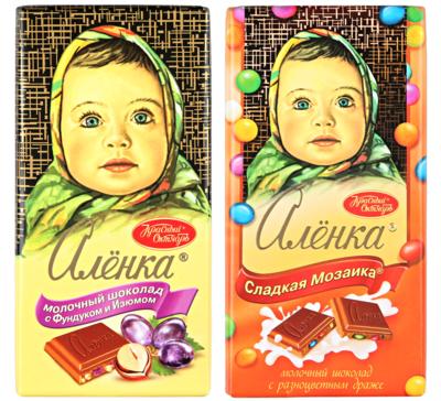 Молочный шоколад Аленка С фундуком и изюмом или Сладкая мозаика с разноцветными драже 100гр