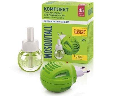 Комплект защита от комаров MOSQUITALL прибор + жидкость без запаха 45 ночей