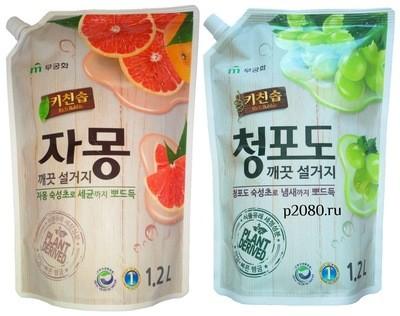 Премиальное средство для мытья посуды, овощей, фруктов сменный блок MUKUNGHWA (Мукунгва) Rich Bubble Сочный грейпфрут или Зеленый виноград 1,2л
