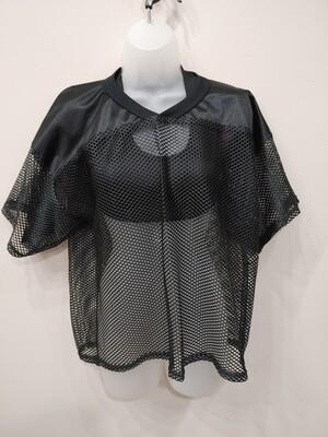 Solid shoulder mesh top