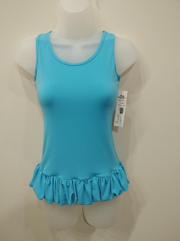 Turquoise sleeveless ruffle bottom top