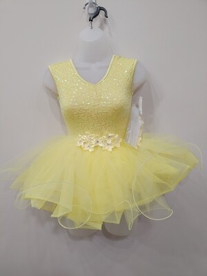 Yellow dance costume with sequins